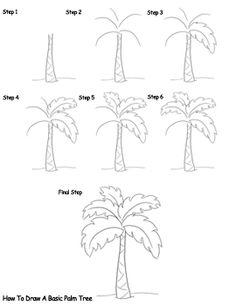 Drawn palm tree step by step #4