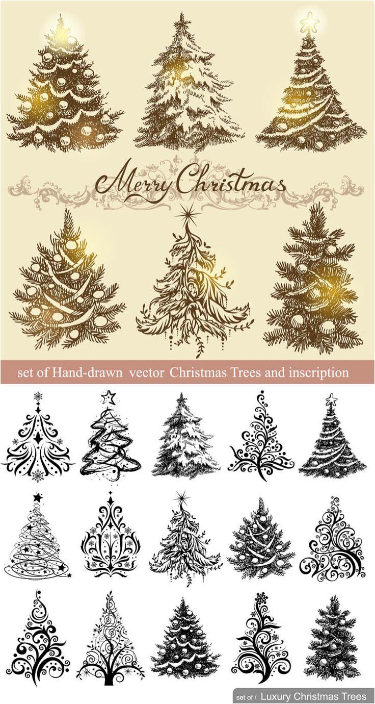 Drawn christmas ornaments vintage Vector 25+ Best vector Illustrations