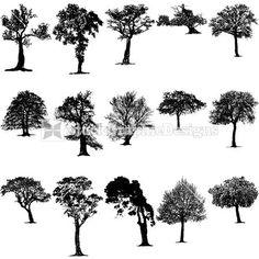 Drawn tree winter tree Vector clip art Winter Silhouettes