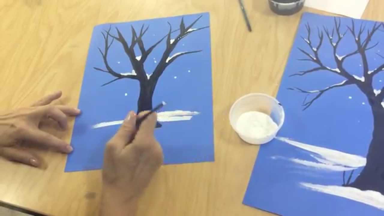 Drawn tree winter tree How  draw to tree
