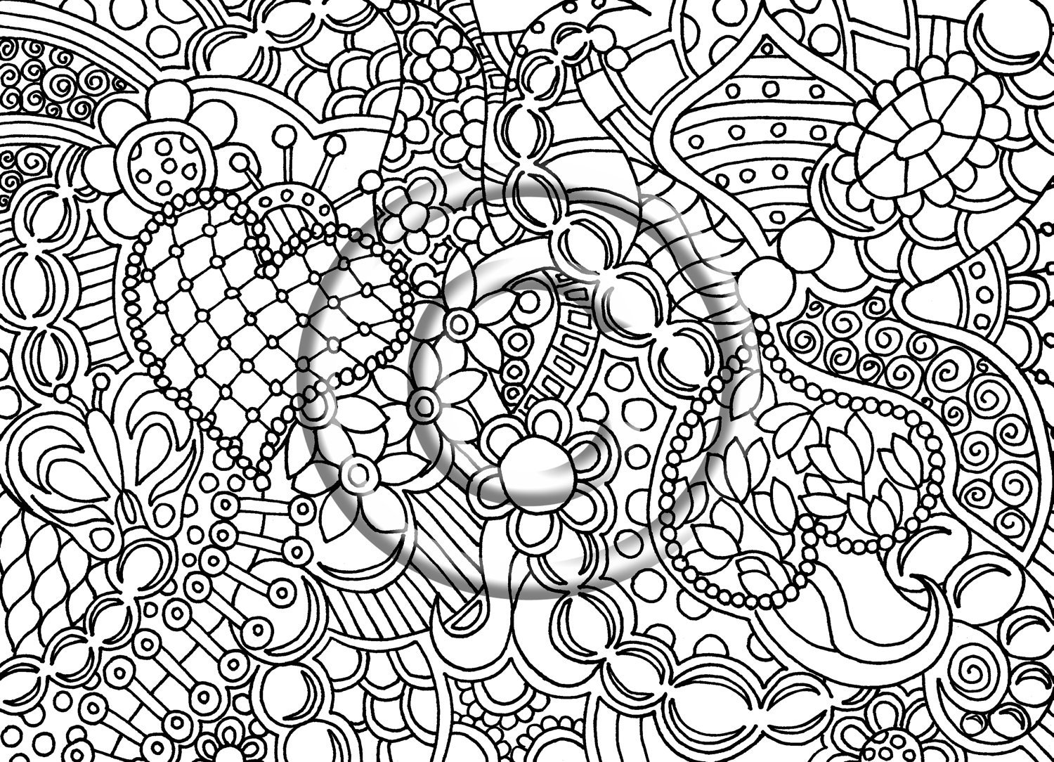Drawn triipy abstract Inspired Zentangle Psychedelic Page Instant