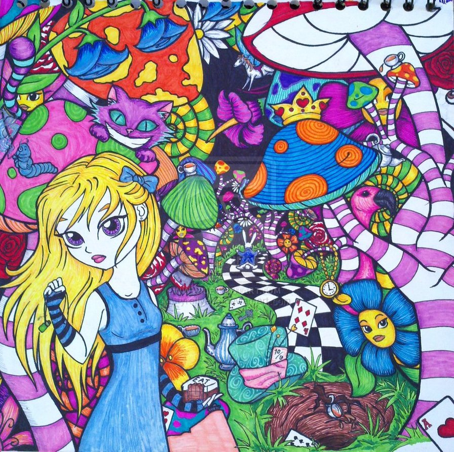 Drawn triipy alice in wonderland : Wonderland Trippy Coloring Kids