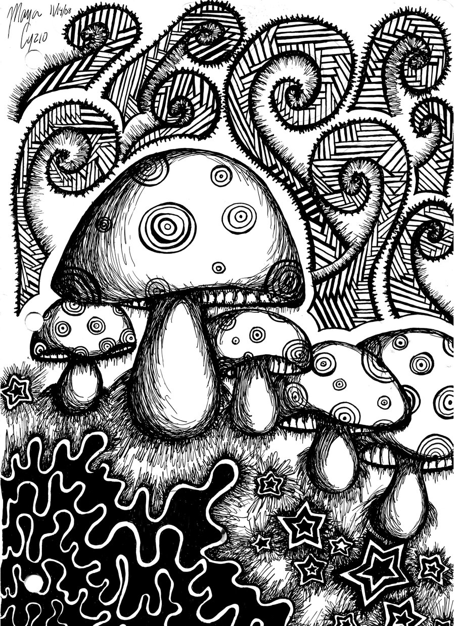 Drawn triipy black and white DeviantART 5 Psychedelic Coloring Printable