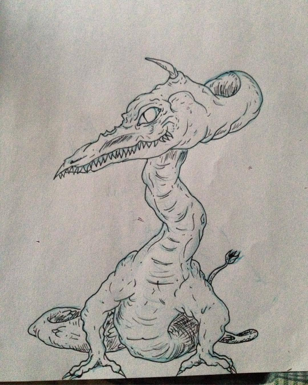 Drawn triipy dragon Dragon #trippy ink — #ink