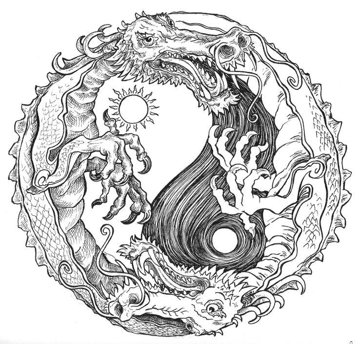 Drawn triipy dragon Mostly! on a