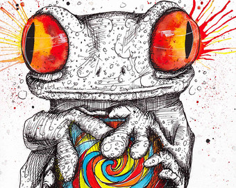 Drawn triipy frog INKtober Amphibian Etsy Frog Animal