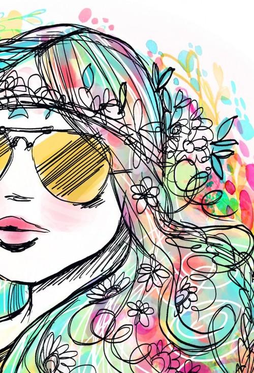 Drawn triipy girly 60s hippy gif soy Girl