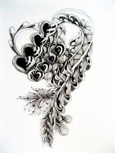 Drawn triipy heart By Decorative it eye zentangle
