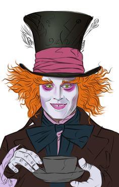 Drawn triipy mad hatter Mad Wonderland' Hatter  Depp)