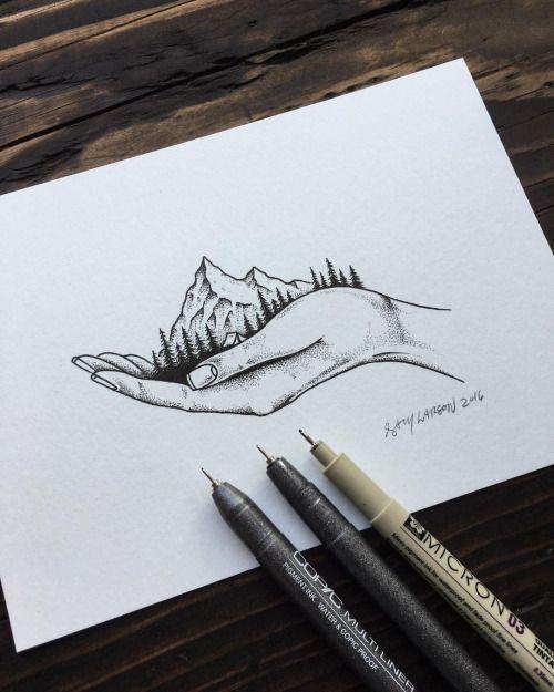 Drawn triipy mountain Earthy #art from #illustration earlier