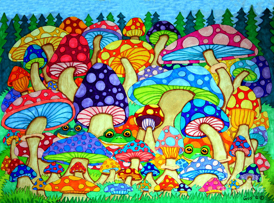 Drawn triipy mushroom forest Magic Mushrooms images Trippy and