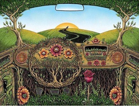 Drawn triipy nature Art hippie bus Best #art