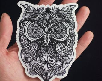 Drawn triipy owl Sticker Laptop Owl Drawn Sticker