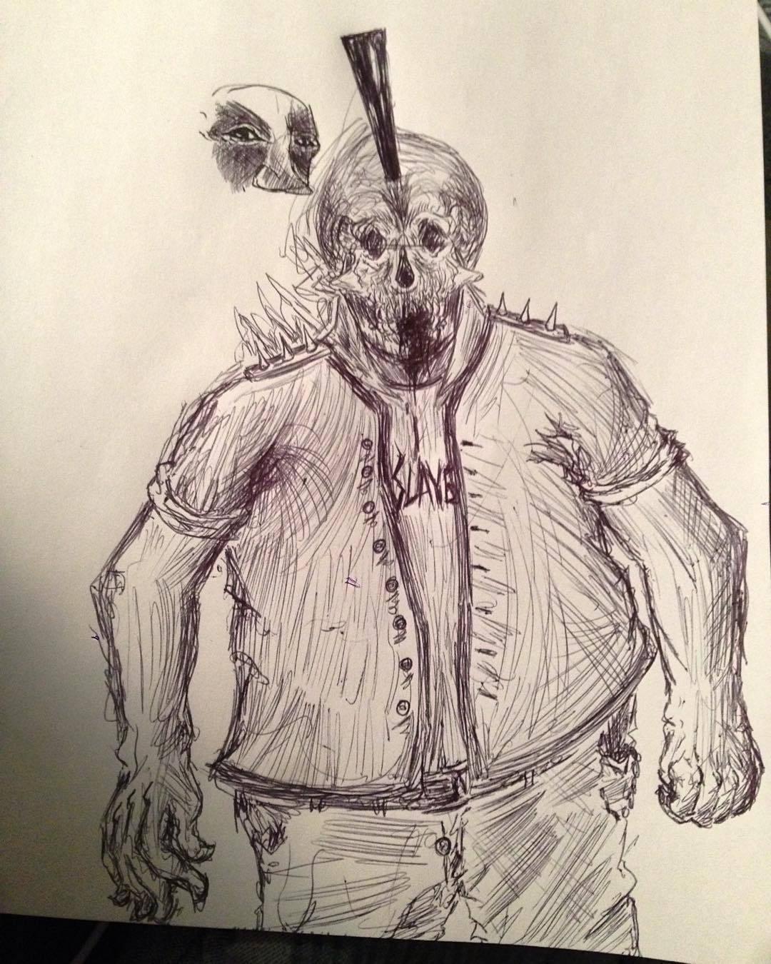 Drawn triipy skeleton More shitty #pen #trippy #weird