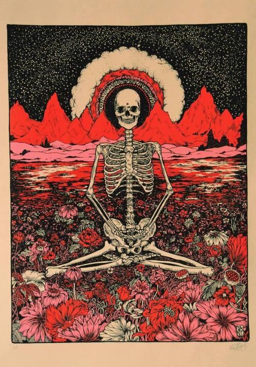 Drawn triipy skeleton Sunset garden flowers sky psychedelic