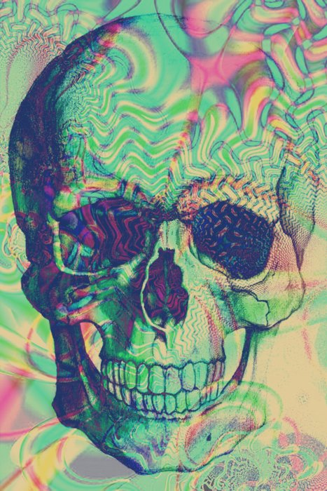 Drawn triipy skeleton Awesome print Psychedelic Place have