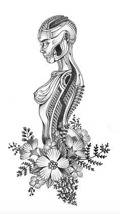 Drawn triipy skeleton Trippy alien pencil ink surreal