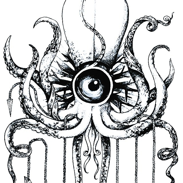 Drawn triipy squid #octopus on #gothic Instagram drawing
