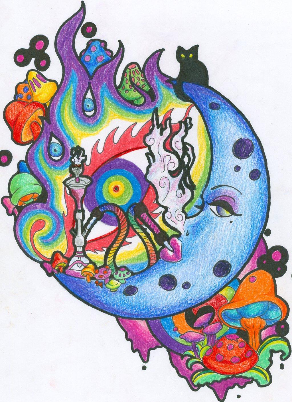Drawn triipy third eye On  Moon Open Third