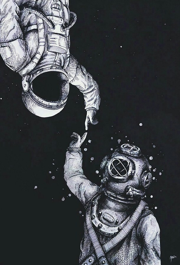 Drawn triipy universe Backgrounds psychedelic space astronauts sky