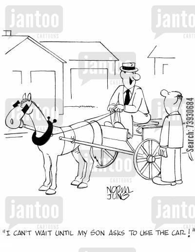 Drawn trolley cartoon horse My wagon use son asks