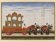 Drawn trolley elephant A two Wikipedia elephants by