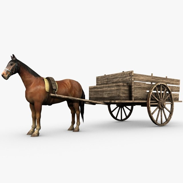 Drawn trolley medieval horse 3d horse drawn Preview model