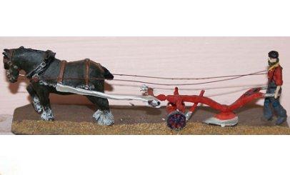 Drawn trolley model horse Drawn Plough OO  &