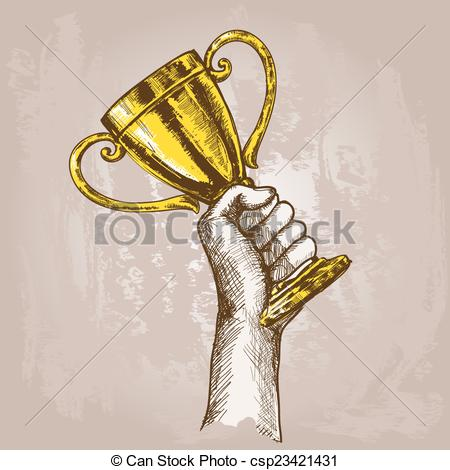 Trophy clipart drawn Trophy holding Hand  hand