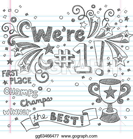 Trophy clipart drawn One number Vector notebook to