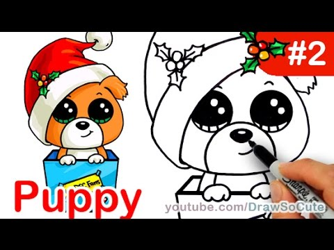 Drawn puppy fun christmas Step by draw Easy step