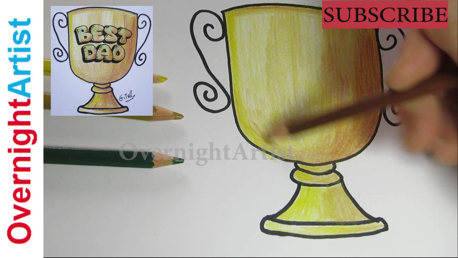Drawn trophy Day for Day drawing Idea