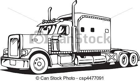 Drawn truck 18 wheeler 18 Wheeler Drawing csp4477091 Truck