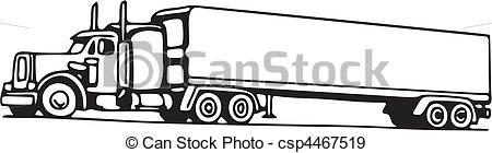Drawn truck 18 wheeler 18 Wheeler Drawing csp4467519 Truck