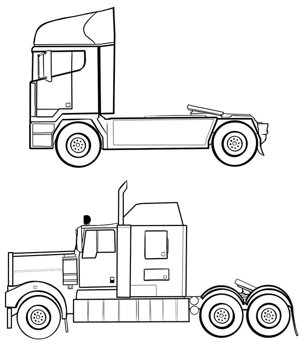 Drawn truck Bottom more trucks much HGVs
