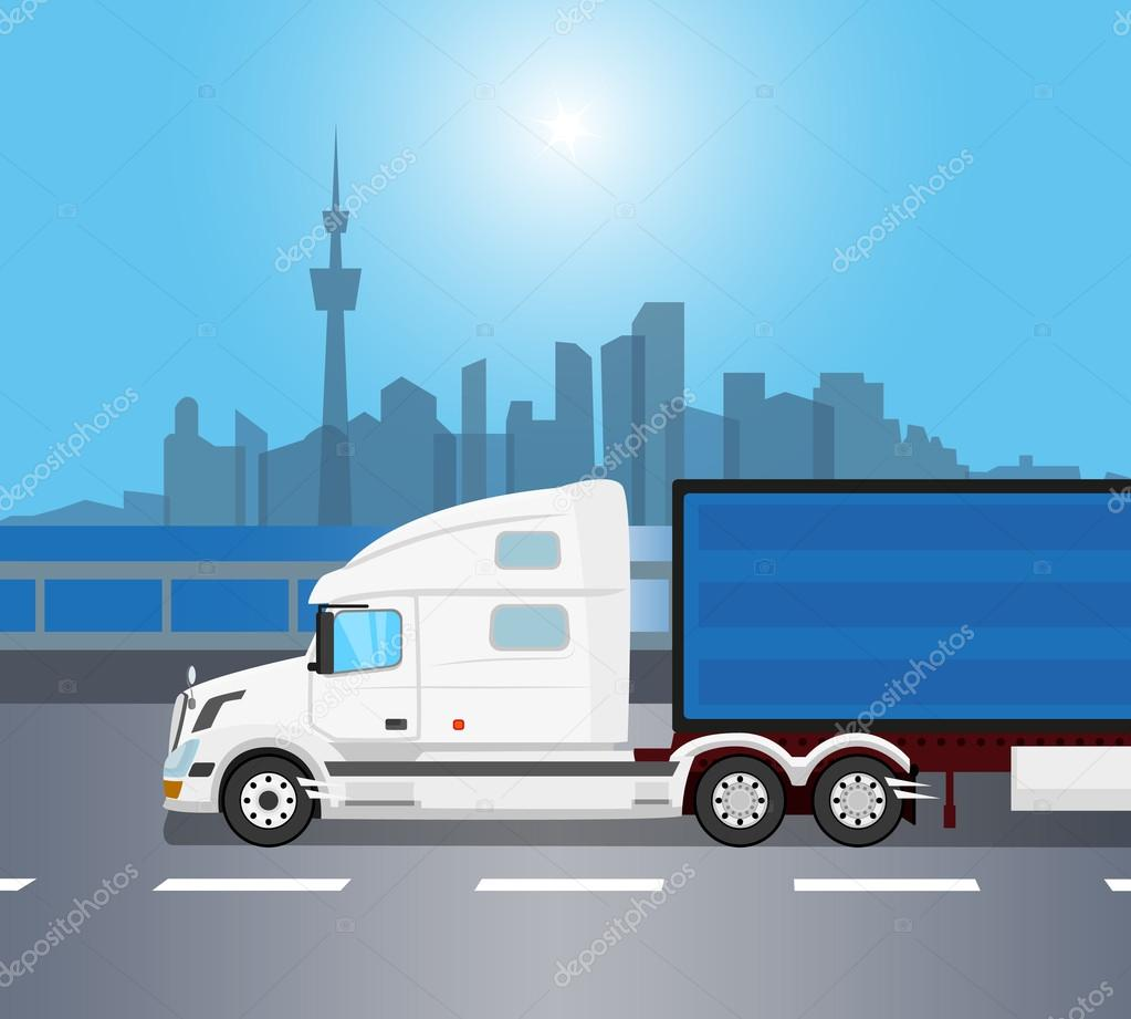 Drawn truck american truck Over morning — Julia_Tim White