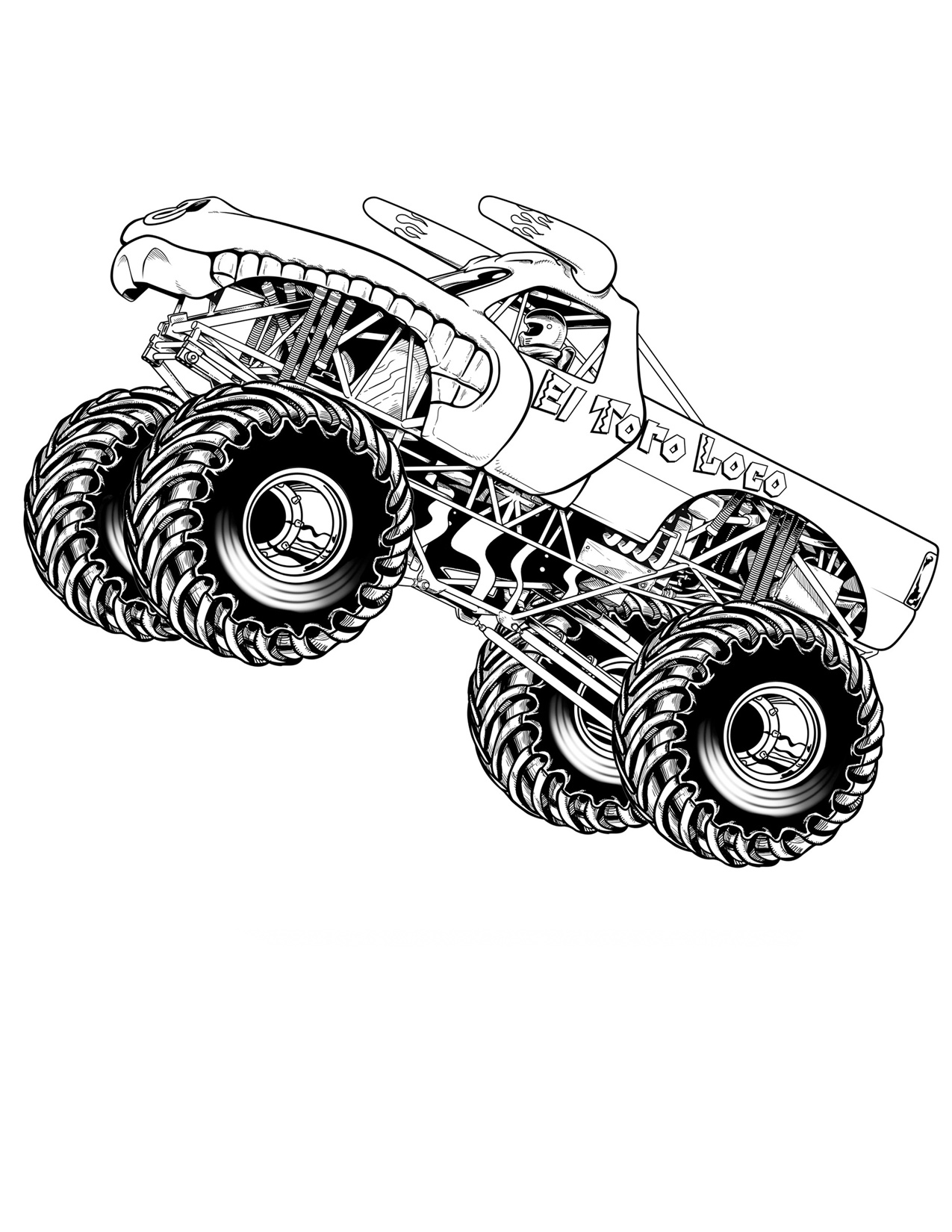 Drawn truck awesome truck  Pages Monster Truck Free