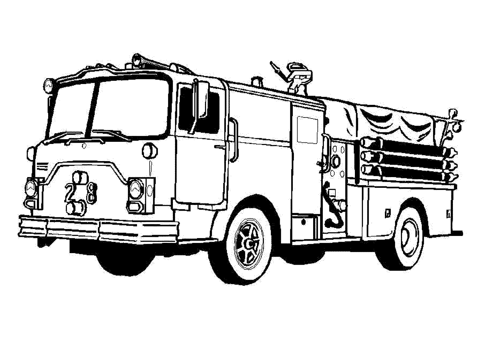 Drawn truck coloring page Fire pages for Pages truck