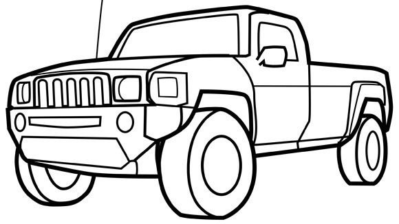 Drawn truck coloring page  Pickup more on com