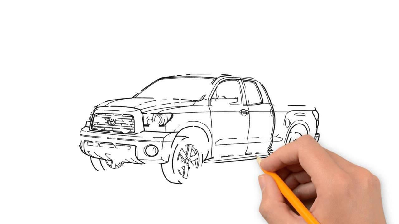 Drawn truck future Toyota cars step transport draw