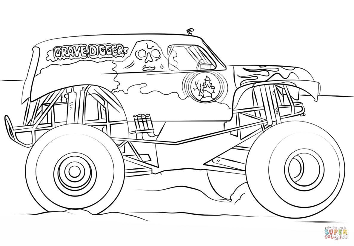 Drawn truck grave digger monster truck Truck Coloring the page Digger