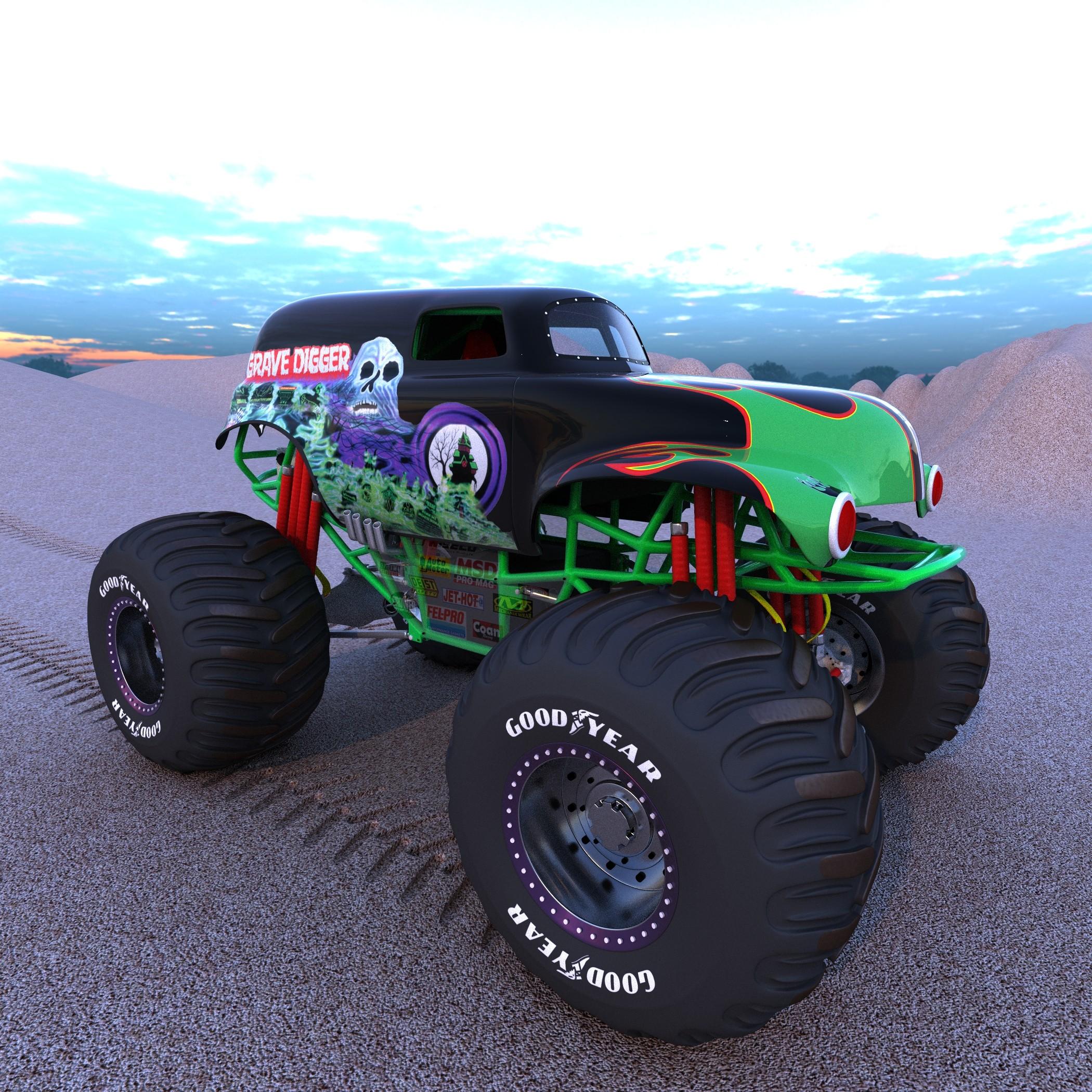 Drawn truck grave digger monster truck 3d digger truck model truck