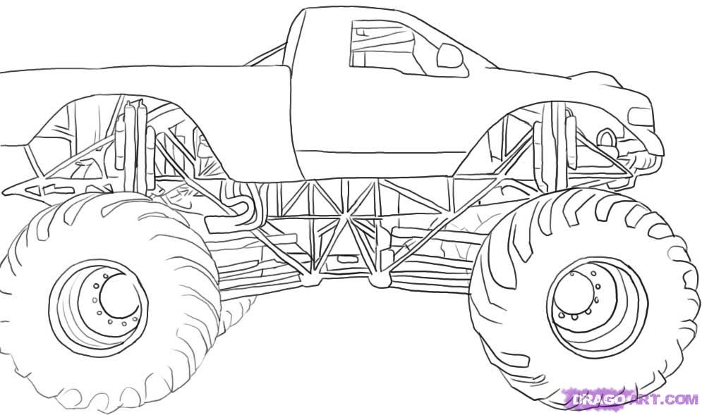 Drawn truck grave digger monster truck To Step to a a