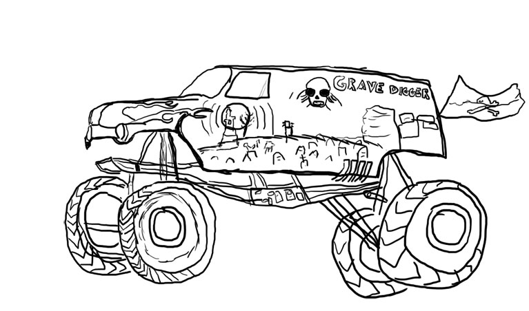 Drawn truck grave digger monster truck Coloring Collection Digger Children Recent
