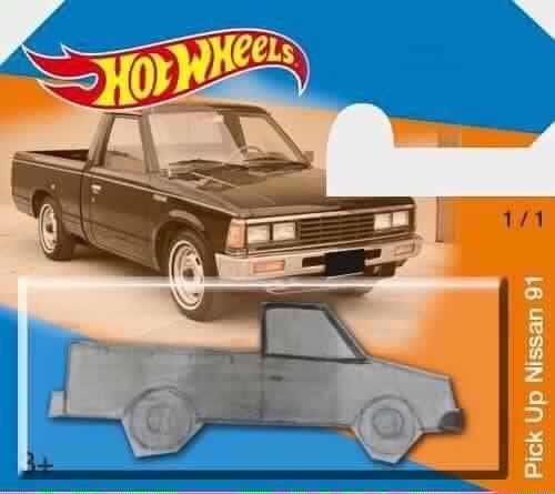 Drawn truck hot wheel car 1991 hot pickup Truck Composite