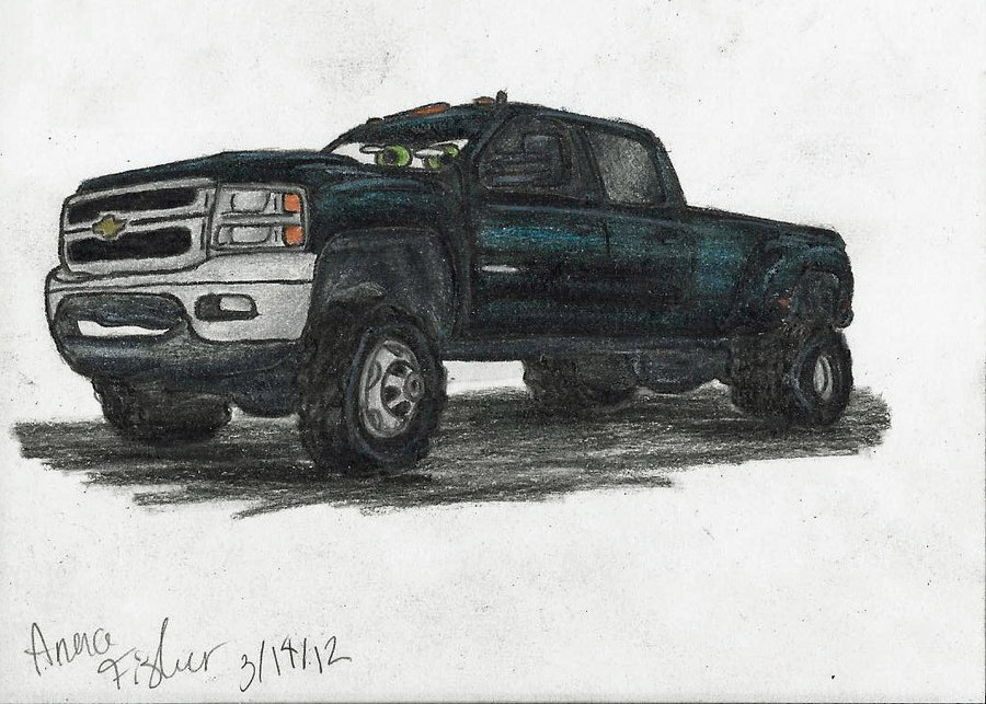 Drawn truck jacked up Drawing drawings ford up truck