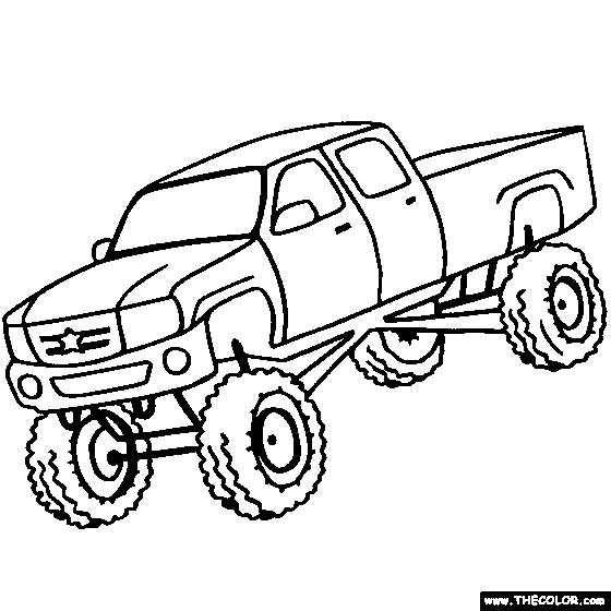 Drawn truck jacked up Coloring Truck Printable Download Up