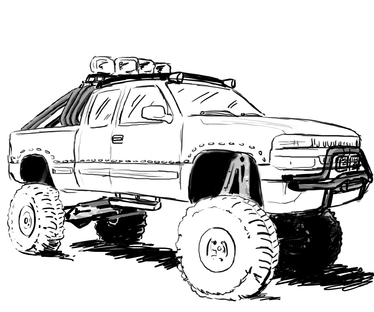 Drawn truck jacked up Outline chevy Lifted Chevy drawings