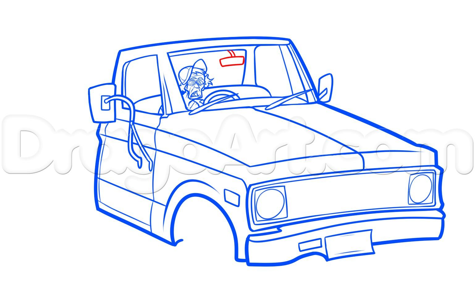 Drawn truck old truck Pickup step chevy drawing