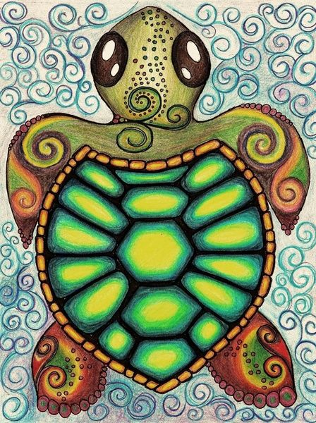 Drawn sea turtle silver dollar Alohalani Sea would Hippie by